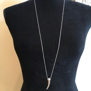 Stella and Dot Silver Delicate Horn Necklace